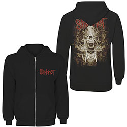 Slipknot Unisex Zipped Hoodie: Skull Teeth (Back Print)