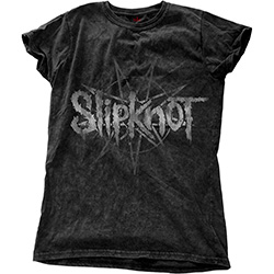 Slipknot Ladies Fashion Tee: Logo Star with Snow Wash Finishing