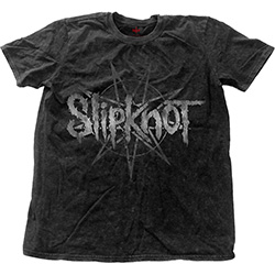 Slipknot Unisex Fashion Tee: Logo Star with Snow Wash Finishing