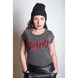 Slipknot Ladies Fashion Tee: Logo with Acid Wash Finish