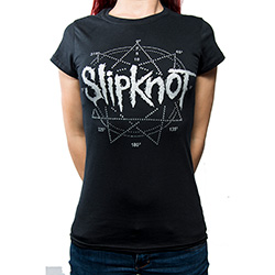 Slipknot Ladies Fashion Tee: Logo Star with Rhinestone Application