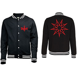 Slipknot Men's Varsity Jacket: Logo & 9 Point Star (Back Print)
