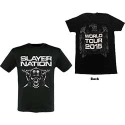 Slayer Men's Tee: Slayer Nation 2014 Dates (Ex-Tour with Back Print)