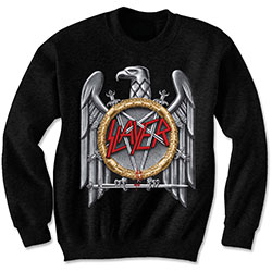 Slayer Men's Sweatshirt: Silver Eagle with Puff Print Finishing
