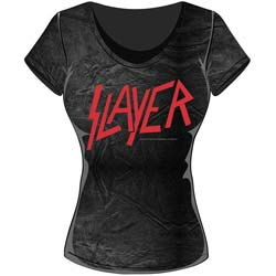 Slayer Ladies Fashion Tee: Classic Logo with Acid Wash Finish