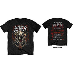 Slayer Unisex Tee: Demonic Admat 21/06/18 Iceland Event (Back Print/Ex Tour)