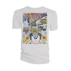 2000 AD Unisex Tee: Judge Dredd Distressed Cursed Earth Cover
