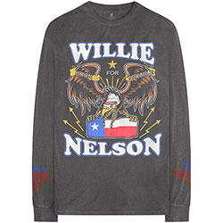 Willie Nelson Unisex Long Sleeved Tee: Texan Pride (Arm Print)