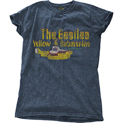 The Beatles Ladies Fashion Tee: Yellow Submarine Nothing Is Real with Snow Wash Finishing
