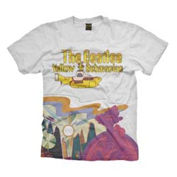 The Beatles Men's Premium Tee: Yellow Submarine Logo & Scenery